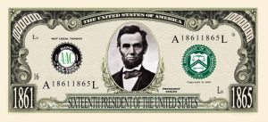 ABRAHAM (HONEST ABE) MILLION DOLLAR BILL
