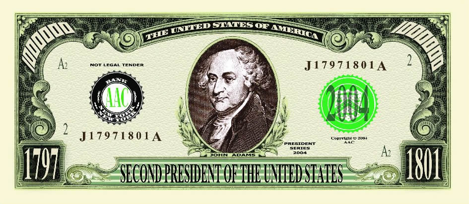 John Adams One Million Dollar Bill