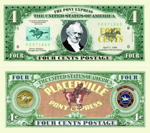 Four Cent Pony Express Postal Collectible Dollar Bill