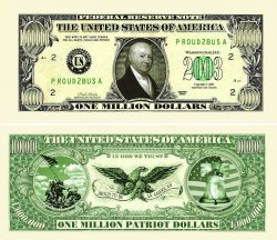 American Patriot One Million Dollar Bill