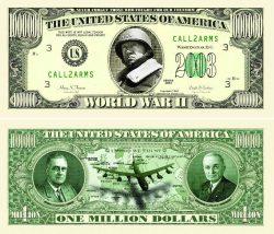 WORLD WAR II COMMEMORATIVE MILLION DOLLAR BILL