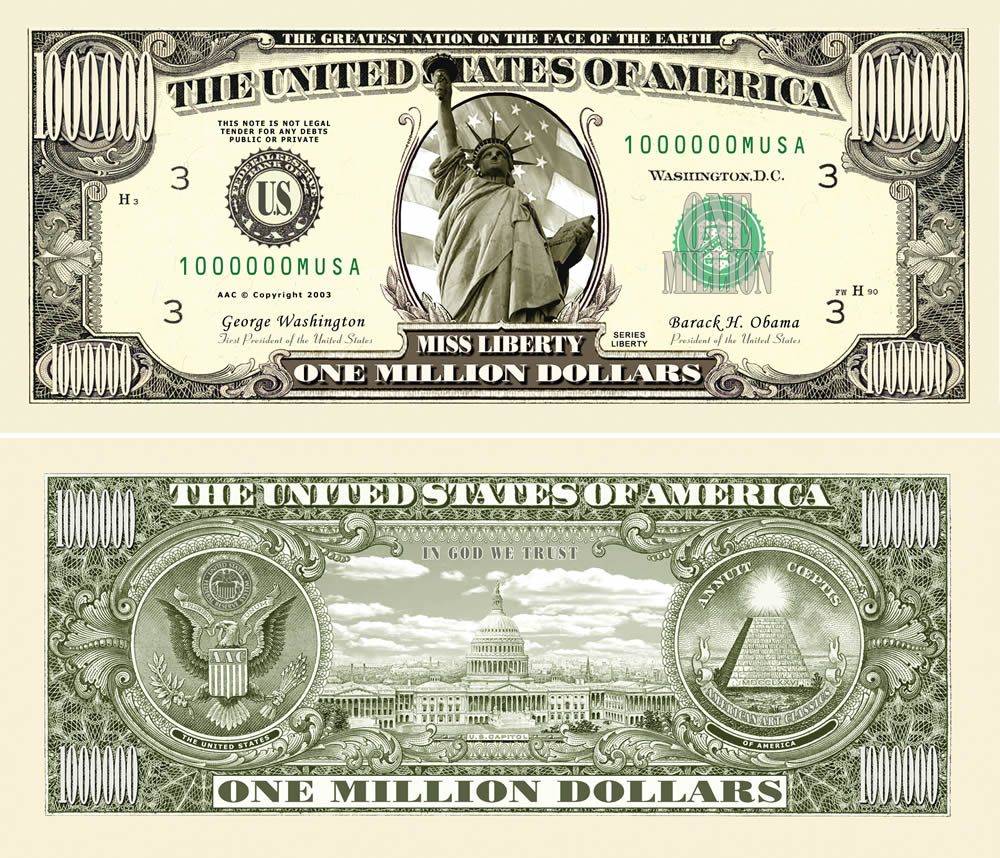 fakemillion traditional one million dollar bills fakemillion