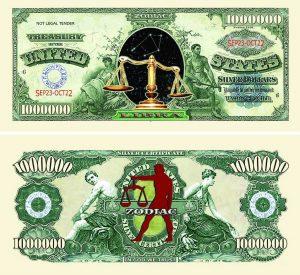 Libra Zodiac One Million Dollar Bill