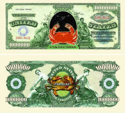 Cancer Zodiac One Million Dollar Bill