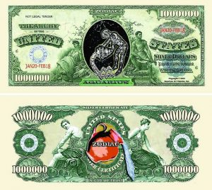 Aquarius Zodiac One Million Dollar Bill