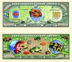 Tropical Frogs One Million Dollar Bill