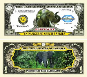 Endangered Elephant One Million Dollar Bill