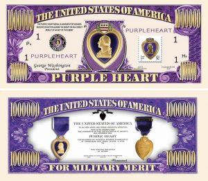 Purple Heart One Million Dollar Bill