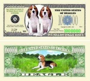 Beagle One Million Dollar Bill