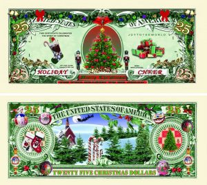 Holiday Cheer $25.00 Christmas Tree Collectible Novelty Money