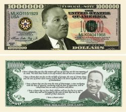 Martin Luther King Jr. - MLK - Commemorative Million Dollar Bill