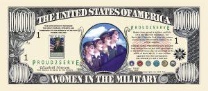 WOMEN IN THE MILITARY COMMEMORATIVE MILLION DOLLAR BILL