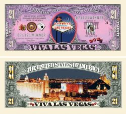 LAS VEGAS SIN CITY GAMBLING 21 DOLLAR BILL