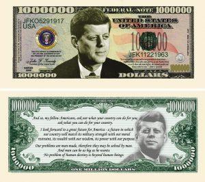 JOHN F. KENNEDY (JFK) COMMEMORATIVE MILLION DOLLAR BILL
