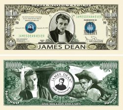 James Dean 50th Anniversary Million Dollar Bill