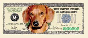 DACHSHUND MILLION DOLLAR BILL