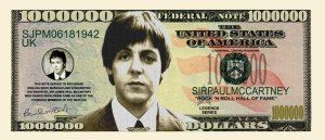 PAUL McCARTNEY MILLION DOLLAR BILL
