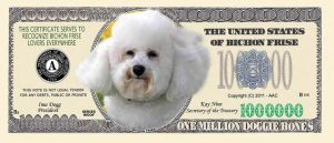 Bichon Frise Dog Million Dollar Bill
