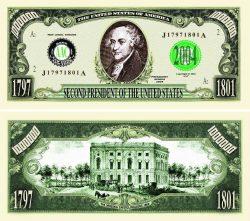 John Adams One Million Dollar Bill