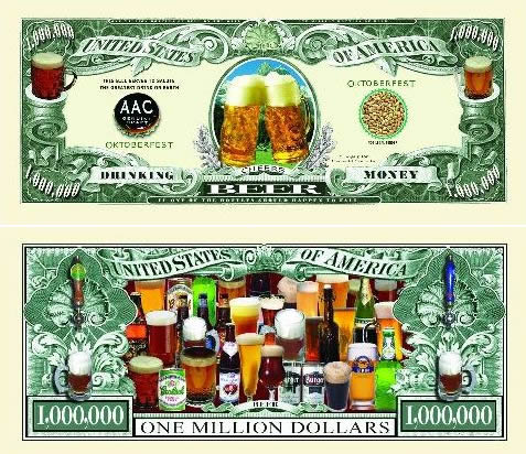 Beer One Million Dollar Bill (Drinking Money)