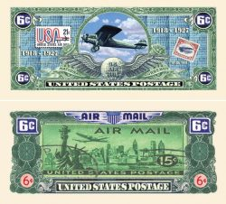 Six Cent Air Mail Postal Collectible Dollar Bill