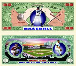 Baseball One Million Dollar Bill