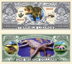 "Dinosaur ""Terrible Lizards"" One Million Dollar Bill"
