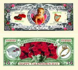 Valentine's Day 14 Dollar Bill