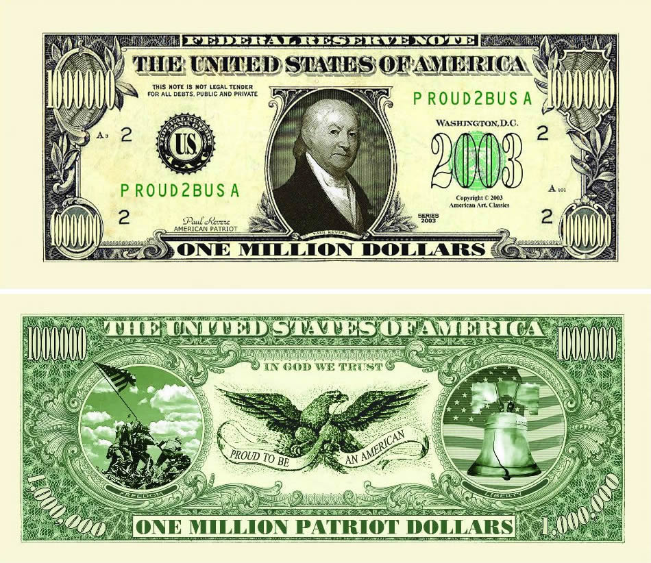 American Patriot One Million Dollar Bill