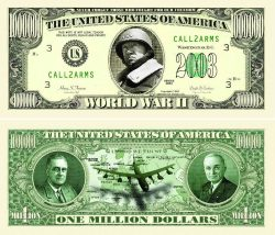 WORLD WAR II COMMEMORATIVE MILLION DOLLAR BILL