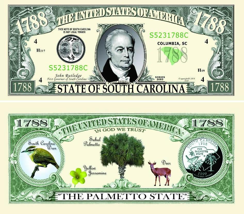 FakeMillion South Carolina State Novelty Bill