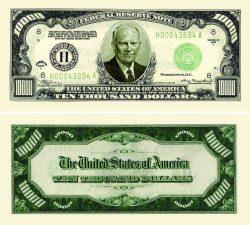 Ten Thousand Dollar Bill Casino and Poker Night Money