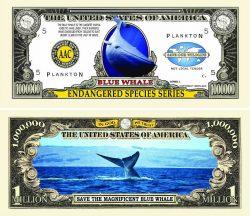 Endangered Blue Whale One Million Dollar Bill