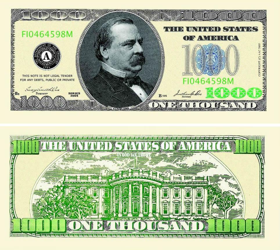 One Thousand Dollar Bill Casino and Poker Night Money