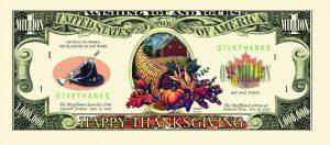Happy Thanksgiving Million Dollar Bill