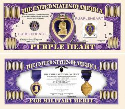 Purple Heart One Million Dollar Bill