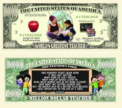 World's Greatest Teacher One Million Dollar Bill