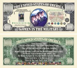 WOMEN IN THE MILITARY COMMEMORATIVE MILLION DOLLAR BILL