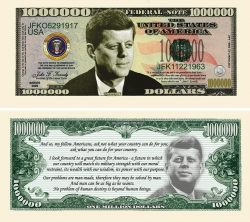 JOHN F. KENNEDY (JFK) COMMEMORATIVE MILLION DOLLAR BILL
