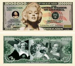 Marilyn Monroe Million Dollar Bill