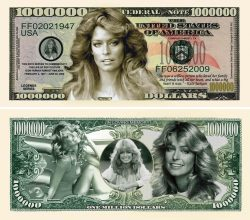 Farrah Fawcett Million Dollar Bill