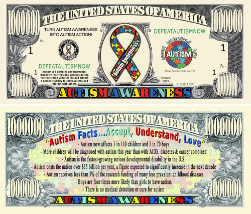 Autism Awareness Million Dollar Bill