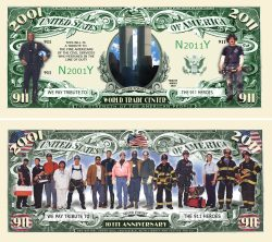 9/11 10th Anniversary WTC Memorial Commemorative Bill