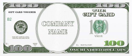 Gift card design as hundred dollars bill